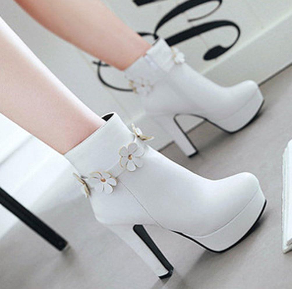 Easemax Damen Elegant Blaume Plateau High Heels Kurzschaft Stiefel Stiefel Stiefel Pumps 842e78