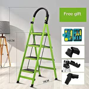 Plegable 4 Pasos Escalera,multifunción Escaleras De Mano Espesar Antideslizante Portátil Acero Escalera Para El Hogar Cocina Oficina Almacén-verde 145x76cm(57x30inch): Amazon.es: Bricolaje y herramientas