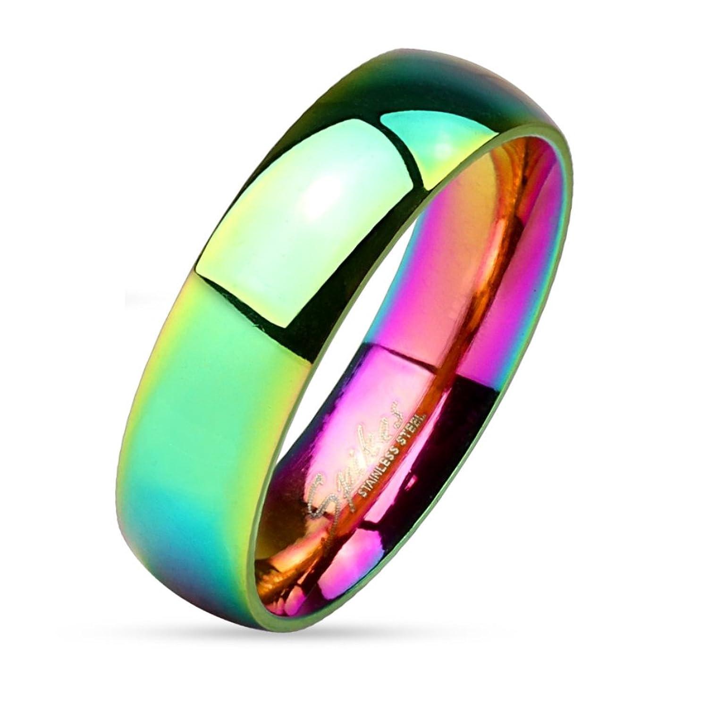 Bungsa Regenbogen Ring sandgestrahlt Diamantoptik Edelstahl