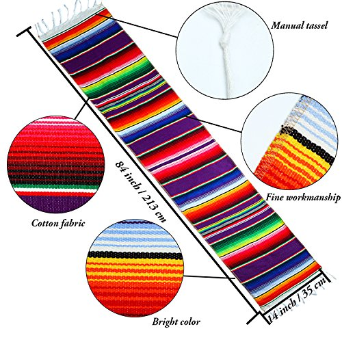 Resinta 2 Pack 14 by 84 Inch Mexican Serape Table Runner Mexican Colorful Cotton Fringe Table Runners Blanket for Mexican Party Outdoor Wedding Kitchen Decorations