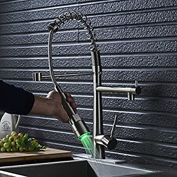 Rozin Deck Mounted Kitchen Sink Faucet Pull down LED Light Sprayer Mixer Tap with 10-inch Holes Cover Plate Brushed Nickel