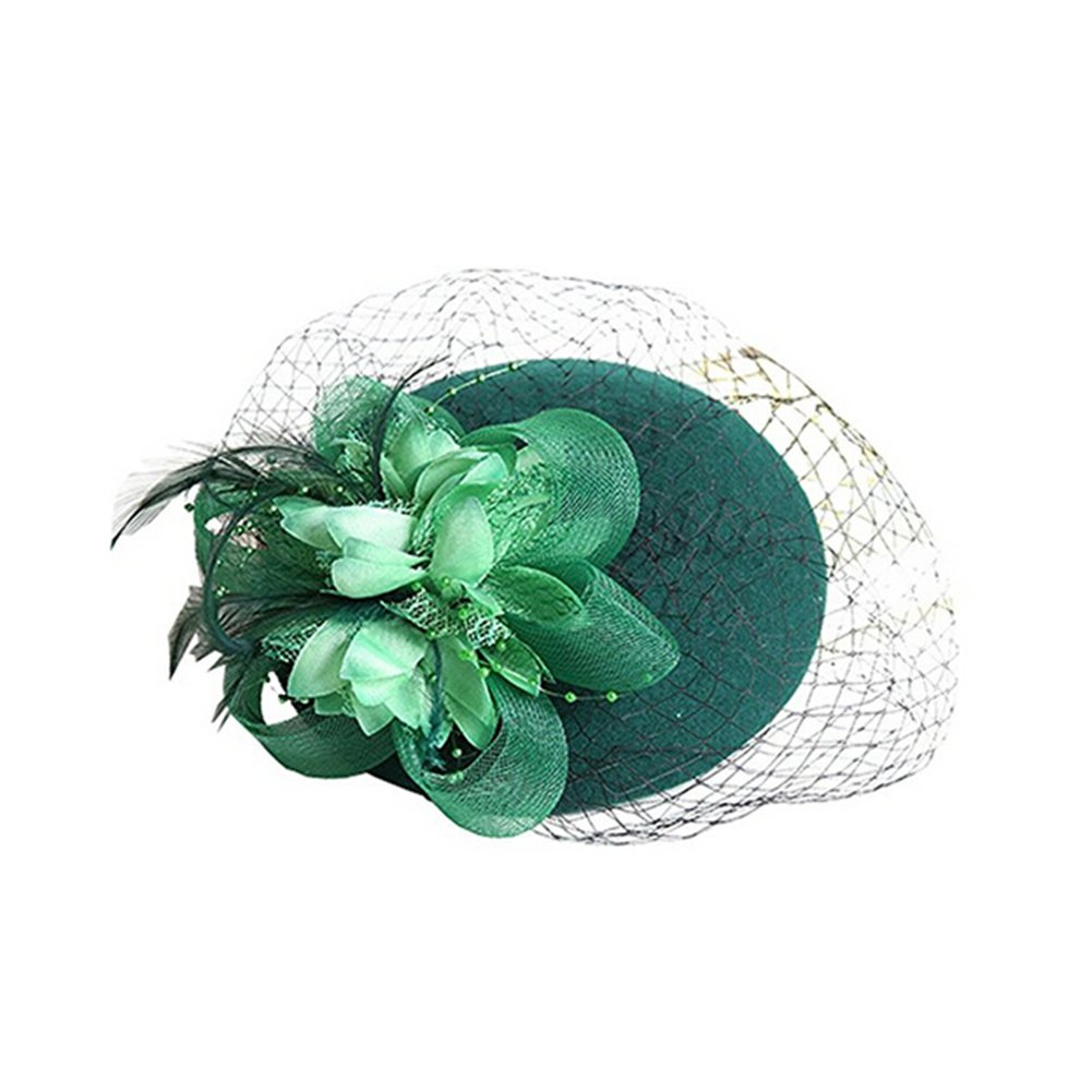 ZUMUii Butterme Women Fascinator Hats Beret Hat Pillbox Hat Wool Felt Hat with Bow and Veil for Wedding Cocktail Tea Party