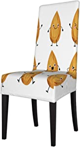 Dining Chair Cover Set of 4 Cute Funny Almond Nuts Face Personalized Dining Room Chair Slipcovers Seat Covers for Dining Room High Back Short Chairs, Banquet, Hotel, Ceremony, Wedding Party
