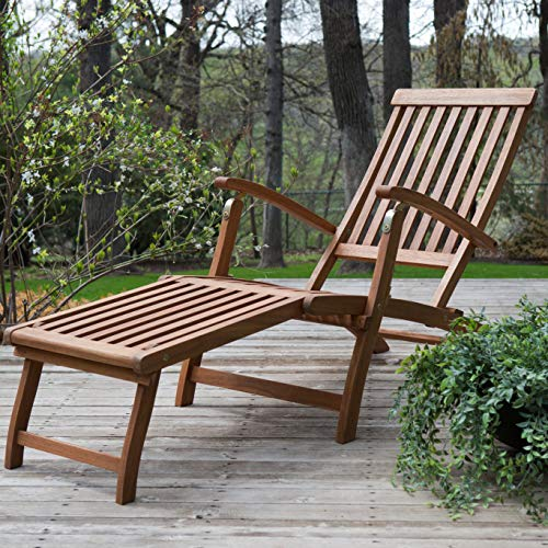 Footrest Style Adirondack (Patio Lounge Chair. Outdoor Furniture of Natural Wood for Porch, Deck, Lawn, Pool, Garden, Balcony, Chat, Conversation, Seating. Outside, Slat-Style Armchair with Adjustable Backrest and Footrest)