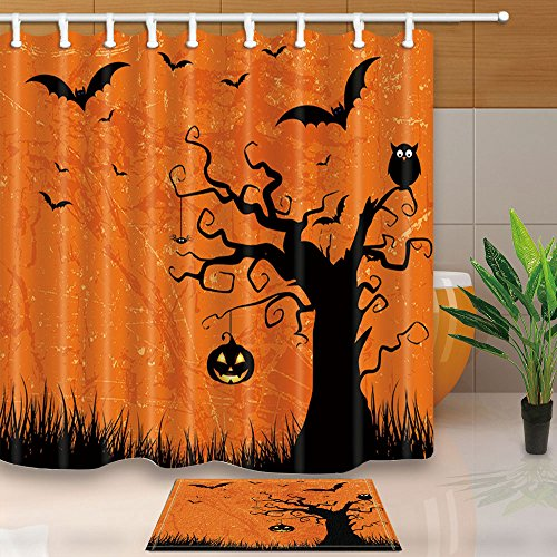 ChuaMi Polyester Fabric 69 x 70 Inches Shower Curtain Set with Hooks Mildew Resistant Waterproof Bath Decoration Curtain Suit with 40 x 60cm Non-slip Floor Mat Bath Rug (Halloween Party (Family Halloween Party Themes)