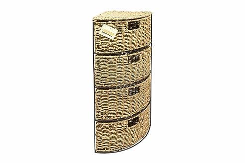 Woodluv Eckschrank für Badezimmer/Schlafzimmer, aus Seegras ...