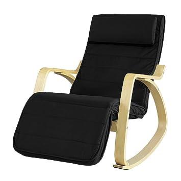 SoBuy® sillón de relada, Silla de relada, mecedora, con Organizador colgante, negro, FST16-SCH,ES