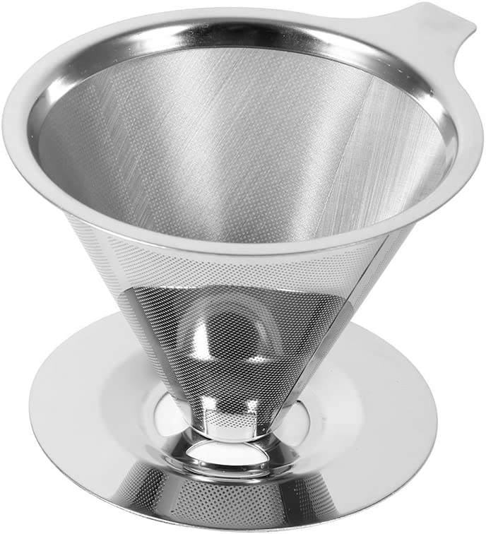 Coffee Filter Cup, Stainless Steel Reusable Pour Over Coffee Dripper Filter Cup Stand Coffee Brewer mit Double Layer Mesh für Home/Office/Travel/Camping