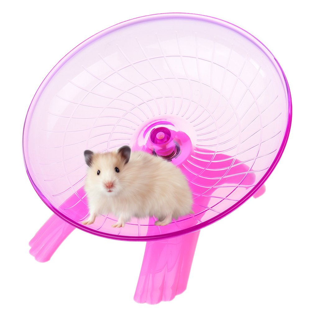 Petacc Mute Hamster Flying Saucer Stable Hamster Exercise Wheel Durable Hamster Running Silent Spinner with Stainless Steel Bearings and Streamlined Edge Design, Suitable for Hamsters (Pink)