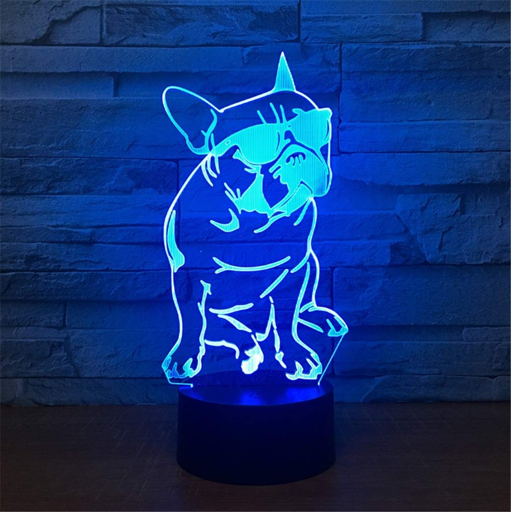 WBYD 3D Lamp LED Night Light Optical Illusion 7 Colour Changing USB Touch Button and Intelligent Remote Control Desk Table Lighting Nice Gift Home Office Decorations Toys(Sunglasses and Dog)