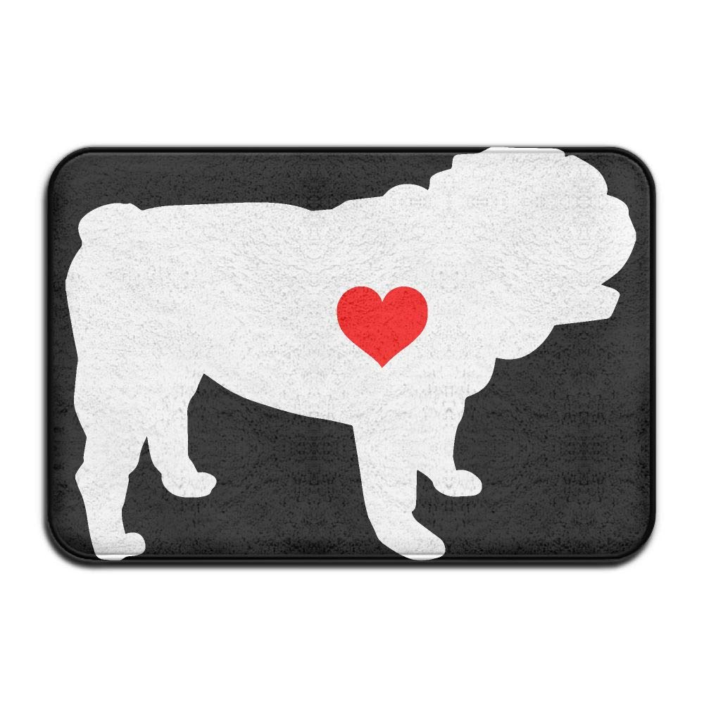 English Bulldog with Heart-1 Indoor Outdoor Entrance Rug Non Slip Bath Rugs Doormat Rugs for Home