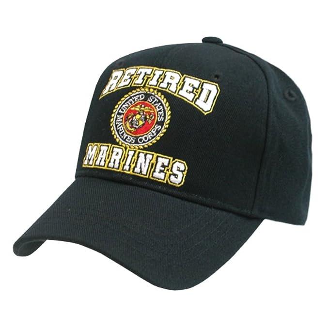 93eb2047341 Rapid Dom US Military Marine Corps Retired Logo Seal Baseball Caps RET Black