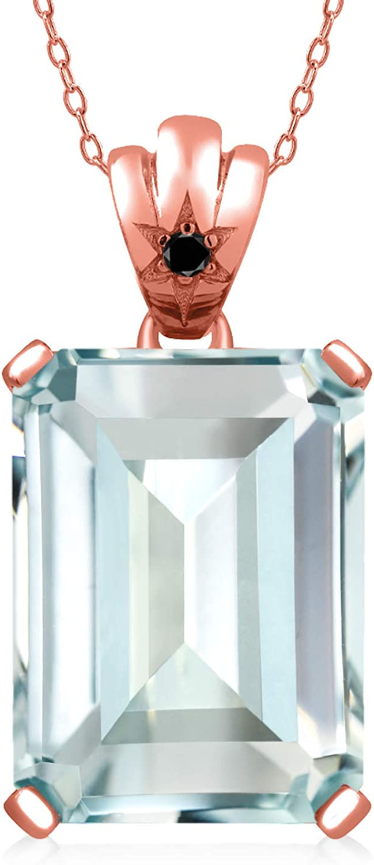 Gem Stone King 15.83 Ct Sky Blue Simulated Aquamarine Black Diamond 18K Rose Gold Plated Silver Pendant