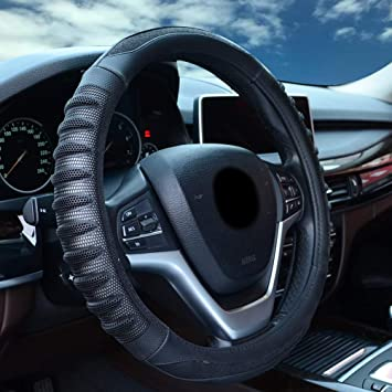Blue Universal Leather Steering Wheel Cover for Women Steering Wheel Cover for Car 15 inch