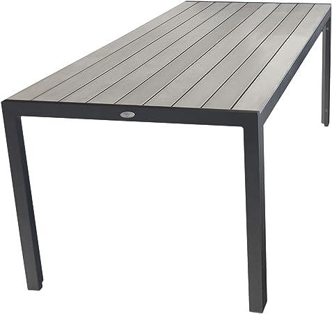 Wohaga Aluminium Polywood Esstisch 205x90cm Alutisch Esszimmertisch Gartentisch Für Bis Zu 8 Personen Grausmoked Grey