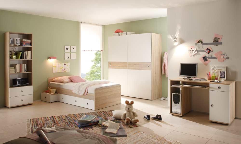 lifestyle4living Jugendzimmer in Eiche Sonoma NB und Abs. in weiß, Kojenbett (ca. 90x200cm), Schreibtisch mit Tastaturauszug, Schwebetürenschrank (B:ca. 170cm)