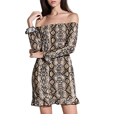 Amazon.com  Clearance! Womens Sexy One Shoulder Snake Print Dresses Long  Sleeve Cocktail Nightclub Evening Party Mini Dress  Clothing 9ff6df7c1
