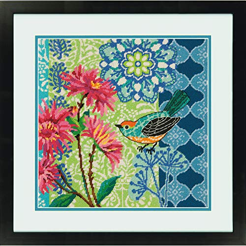 Dimensions Blue Floral Bird Needlepoint Kit for Beginners, 12 Mesh Canvas, 14'' x 14''