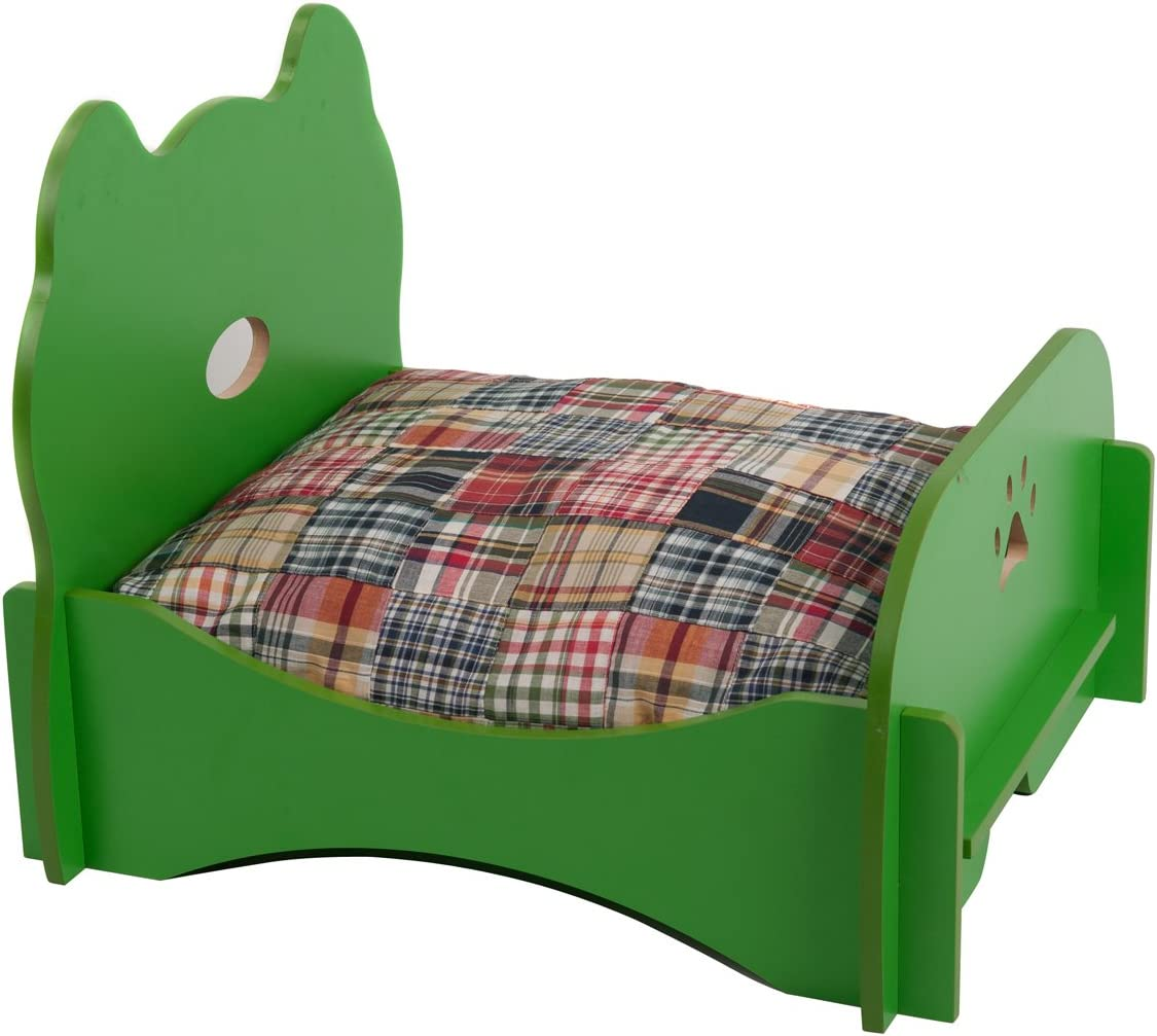 Favorite Pet Bed Ventilated Base Wood Furniture, Green