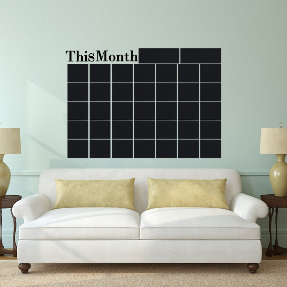 Month Plan Calendar Monthly Wall Chalkboard Blackboard Sticker Home Decals Desk School Stationery Office Supplies Set