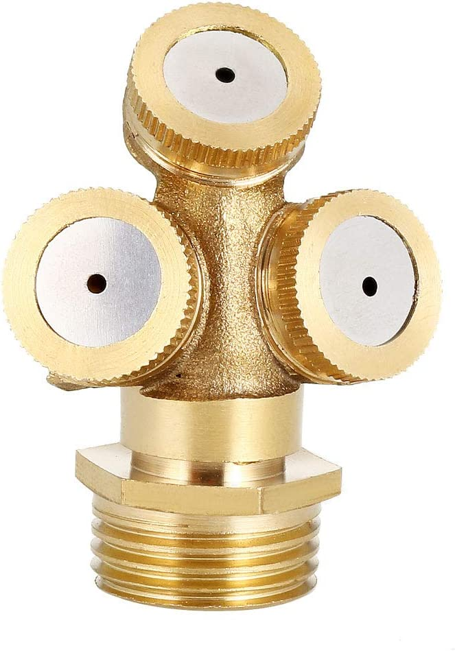 uxcell Misting Spray Nozzle 1//2BSPF Brass 3 Holes Garden Sprinklers Irrigation Connector Fitting with Adapter 2 Pcs