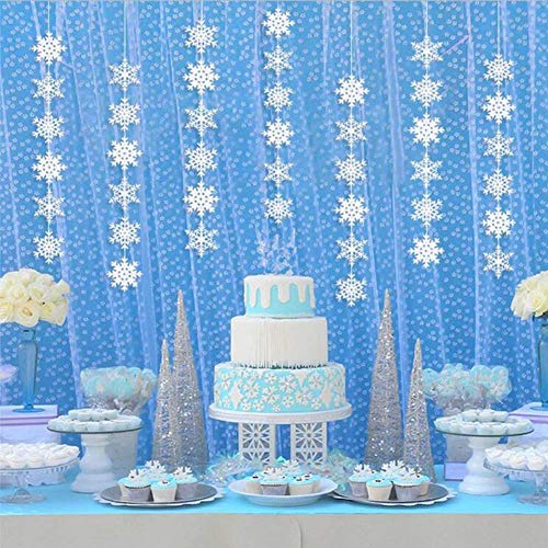 Hanging Snowflake Decorations Paper Winter Wonderland Birthday Decorations Christmas Snowflake Ornaments Garland White Party Decor Supplies -