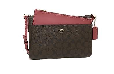 72b3afe91246 COACH Crossgrain Leather E W Pop Crossbody F58316 Brown Rouge ...
