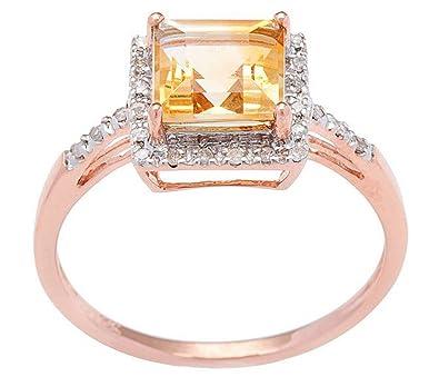 Instagems 10k Rose Gold Square Citrine And Diamond Halo Ring