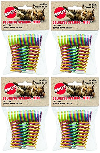 Ethical Pet (4 Pack) Wide Durable Heavy Gauge Plastic Colorful Springs Cat Toy, 10 Count Per Pack - Ethical Products Cat