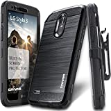 #7: LG Stylo 3 / Stylo 3 PLUS Case, COVRWARE [IRON TANK] Built-in [Screen Protector] Heavy Duty Full-Body Rugged Holster Armor [Brushed Metal Texture] Case [Belt Clip][Kickstand] For LS777, Black
