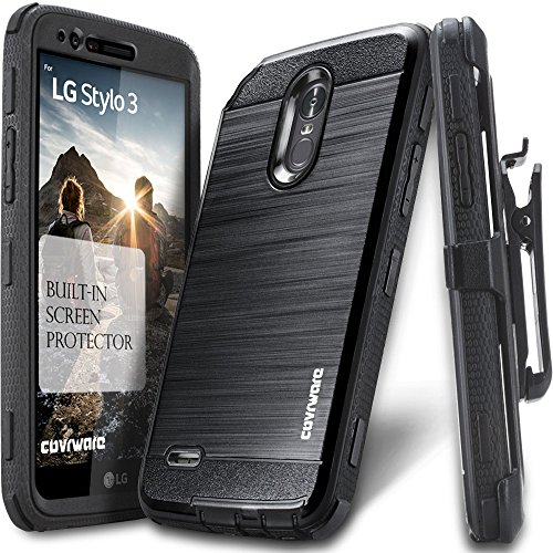 LG Stylo 3 Case, COVRWARE [IRON TANK] Built-in [Screen Protector] Heavy Duty Full-Body Rugged Holster Armor [Brushed Metal Texture] Case [Belt Clip][Kickstand] For LS777, Black