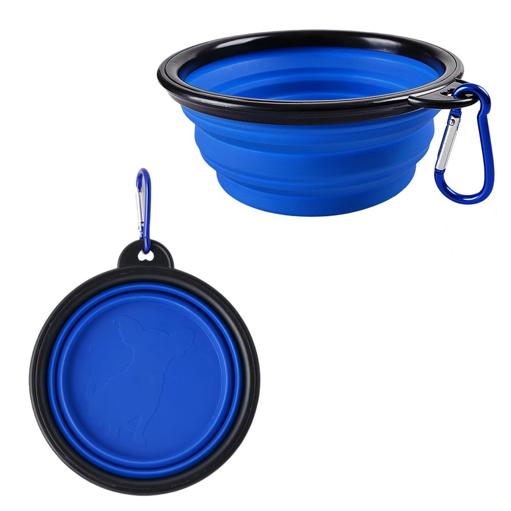Kocome Portable Foldable Collapsible Pet Cat Dog Food Water Feeding Bowl Dish Feeder (Blue)