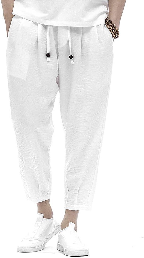 Kung Fu Smith Mens Casual Loose Harem Capris Pants Pocket /& Elastic Waist
