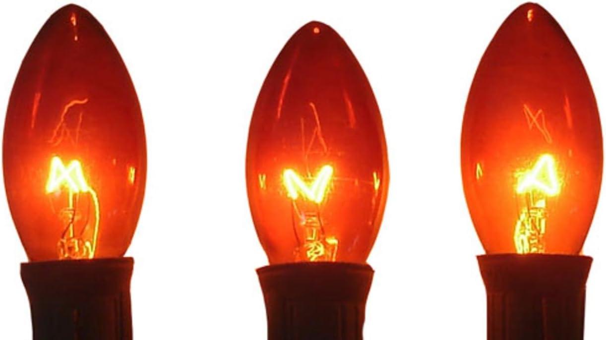 Box of 25 C7 Amber Orange Triple Dipped Transparent Christmas Bulbs 5 Watt