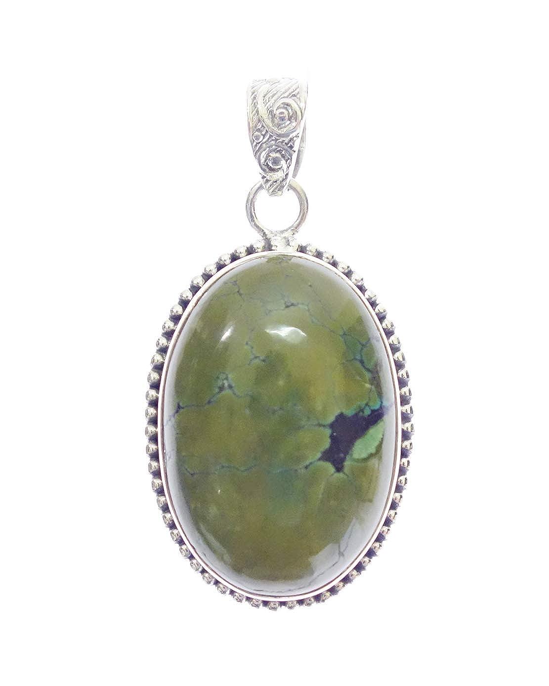 925 Sterling Silver Necklace Pendant for Woman Unisex Turquoise Healing Gemstone Pendant Authentic Fashion Designer Ethnic Boho FINE Genuine Handmade Jewelry Unique Tibetan Amulet