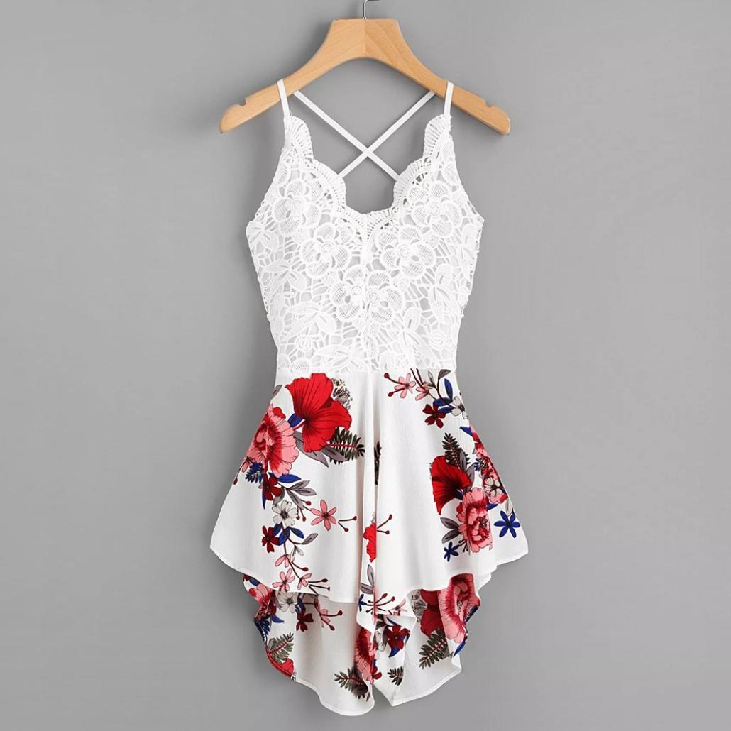 Dreaman Women's Crochet Lace Panel Bow Tie Back Florals Ladies Summer Daily Shorts Jumpsuit Romper (M)