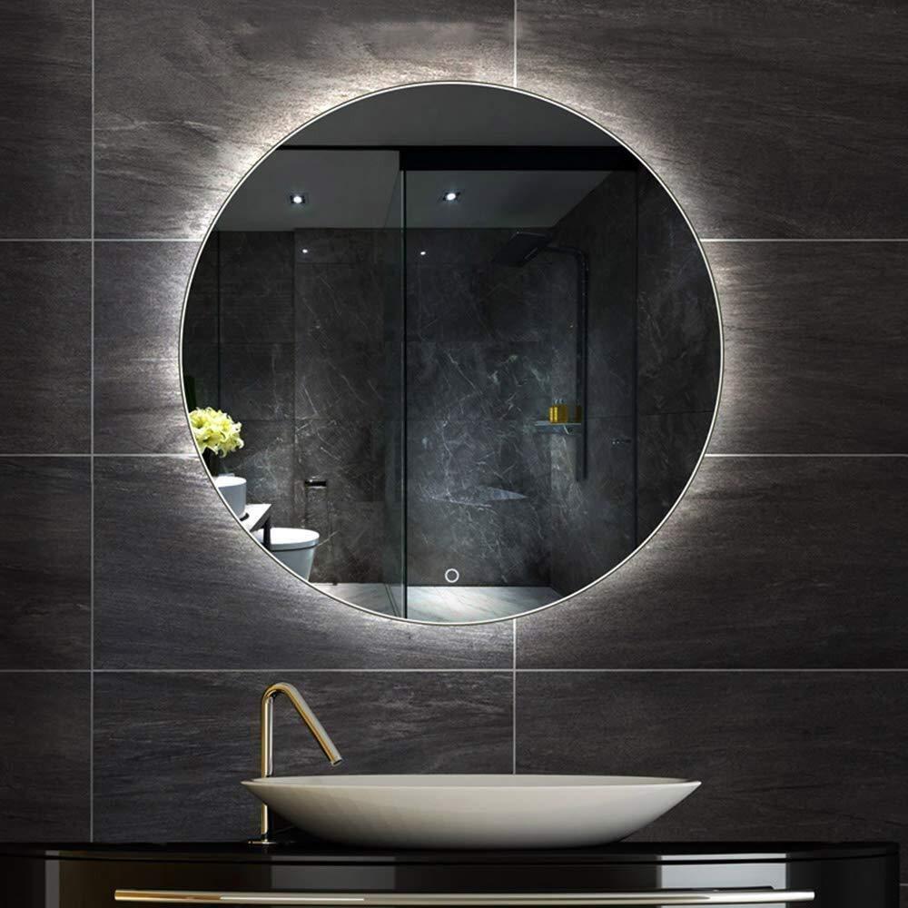 convient /à une vari/ét/é de lieux miroir Miroir LED for salle de bains Grand miroir rond r/étro-/éclair/é Allum/é Lit Applique murale de maquillage Miroir anti-bu/ée avec commutateur tactile