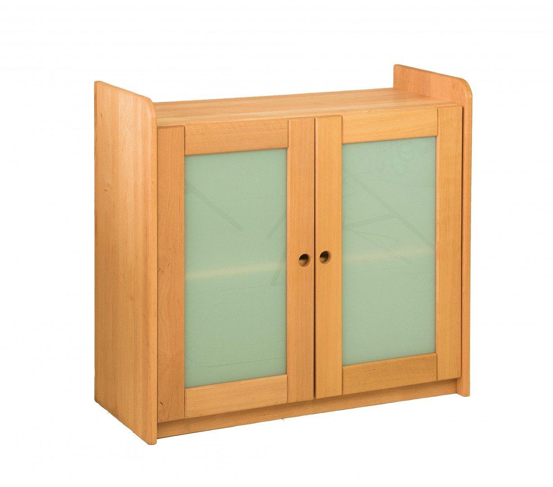 BioKinder 23155 Lara Spar-Set Regal mit 2 Satinglastüren aus Massivholz 80 x 84 x 35 cm