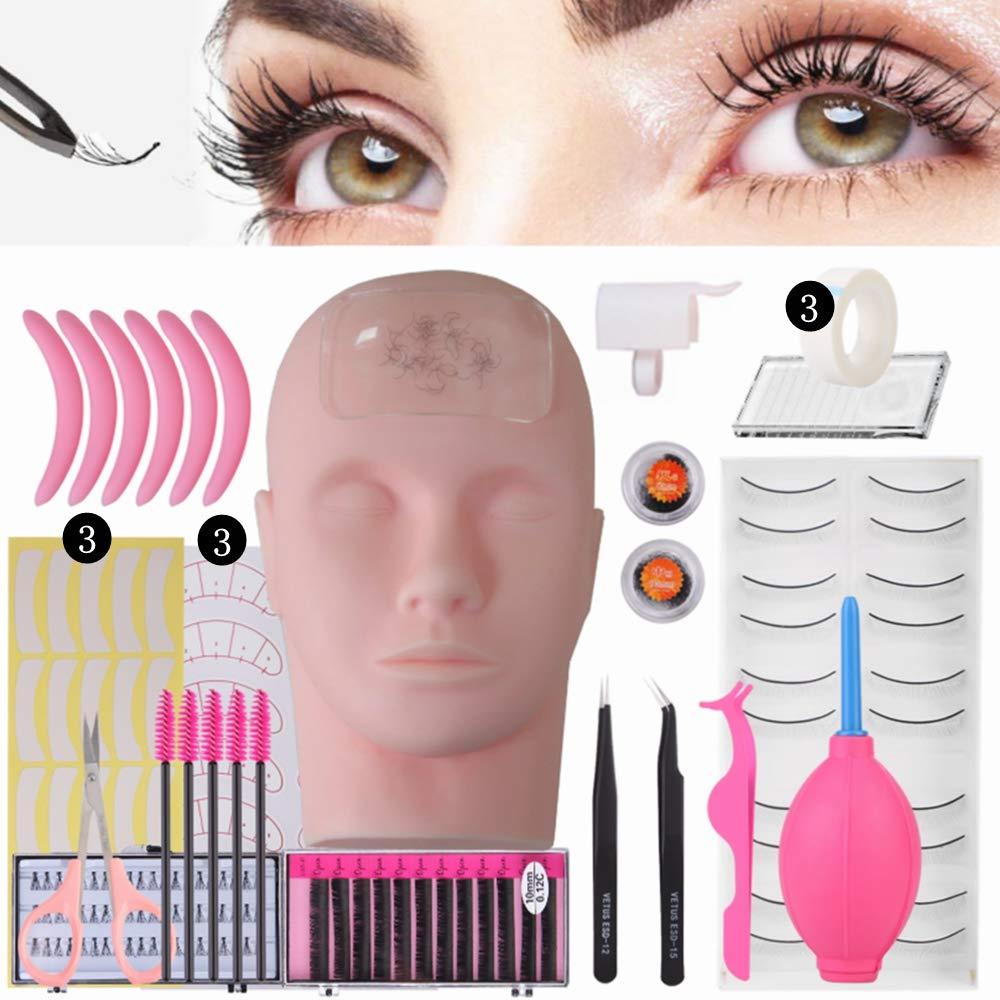 Professional Lashes Kit False Eyelash Extensions Practice Kit Set for Beginners Makeup Training and Eyelash Graft (No Contain Glue)