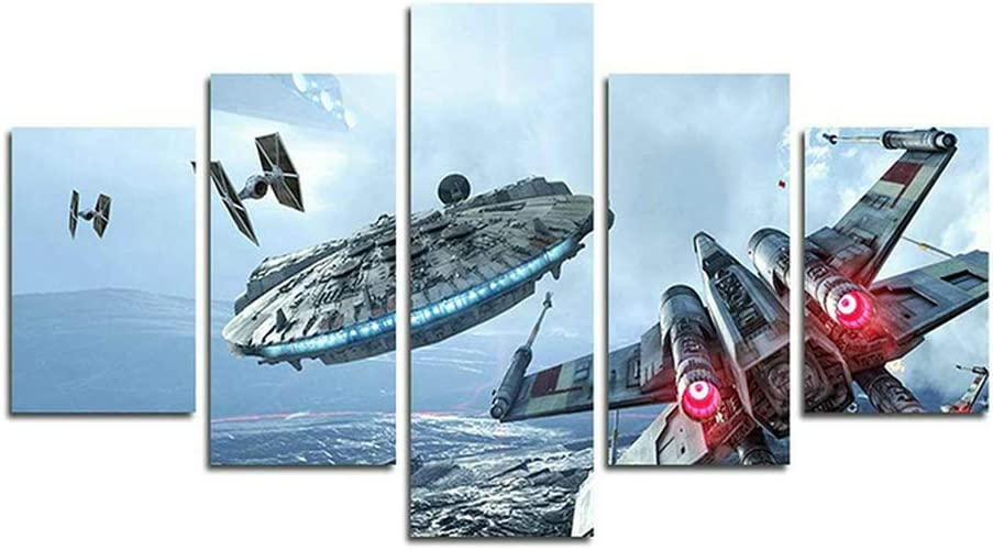 Orsit Prints 5 Pieces Millennium Falcon X Wings Canvas Painting Living Room Home Decoration Canvas Art Wall Poster (No Frame) 50inch x30 inch……