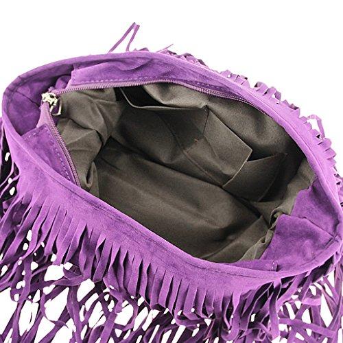 Frauen Handtasche Troddelbeutel Umhängetasche Schultertasche Messenger Tote Shoulder Bag Fringe Rot/Lila/Koffee/Grau/Schwarz Lila z0J4z0p
