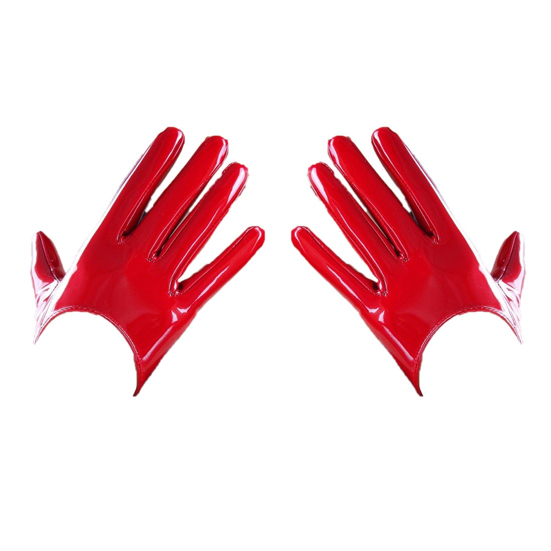 Shine Leather Faux Patent Leather Extra Short Gloves Red Cosplay Gothic Latex