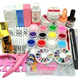 Cocelia 12PC Pure Color UV Gel Manicure Nail Art Salon Fashion Kit Set Decoration Tools