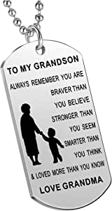 Nimteve Inspirational Gifts Grandson from Grandmother Grandfather Always Remember You are Braver Stronger Smarter Boys Necklace Grandson
