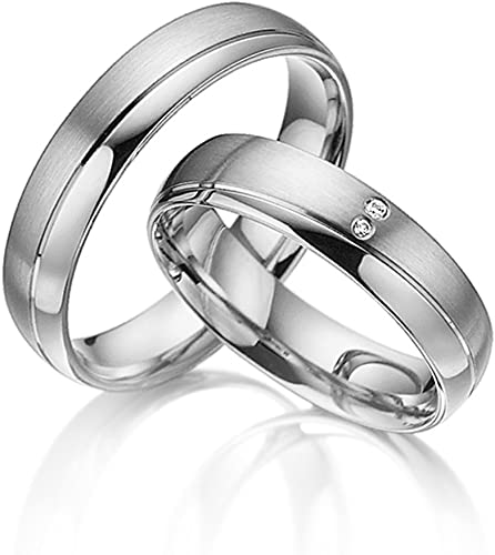 Amazon Com 2x Wedding Bands For Women Men 925 Sterling Silver