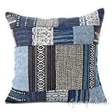 Eyes of India - 16'' Blue Patchwork Decorative Pillow Throw Sofa Cushion Cover Couch Bohemian Indian Colorful BohoCover Only