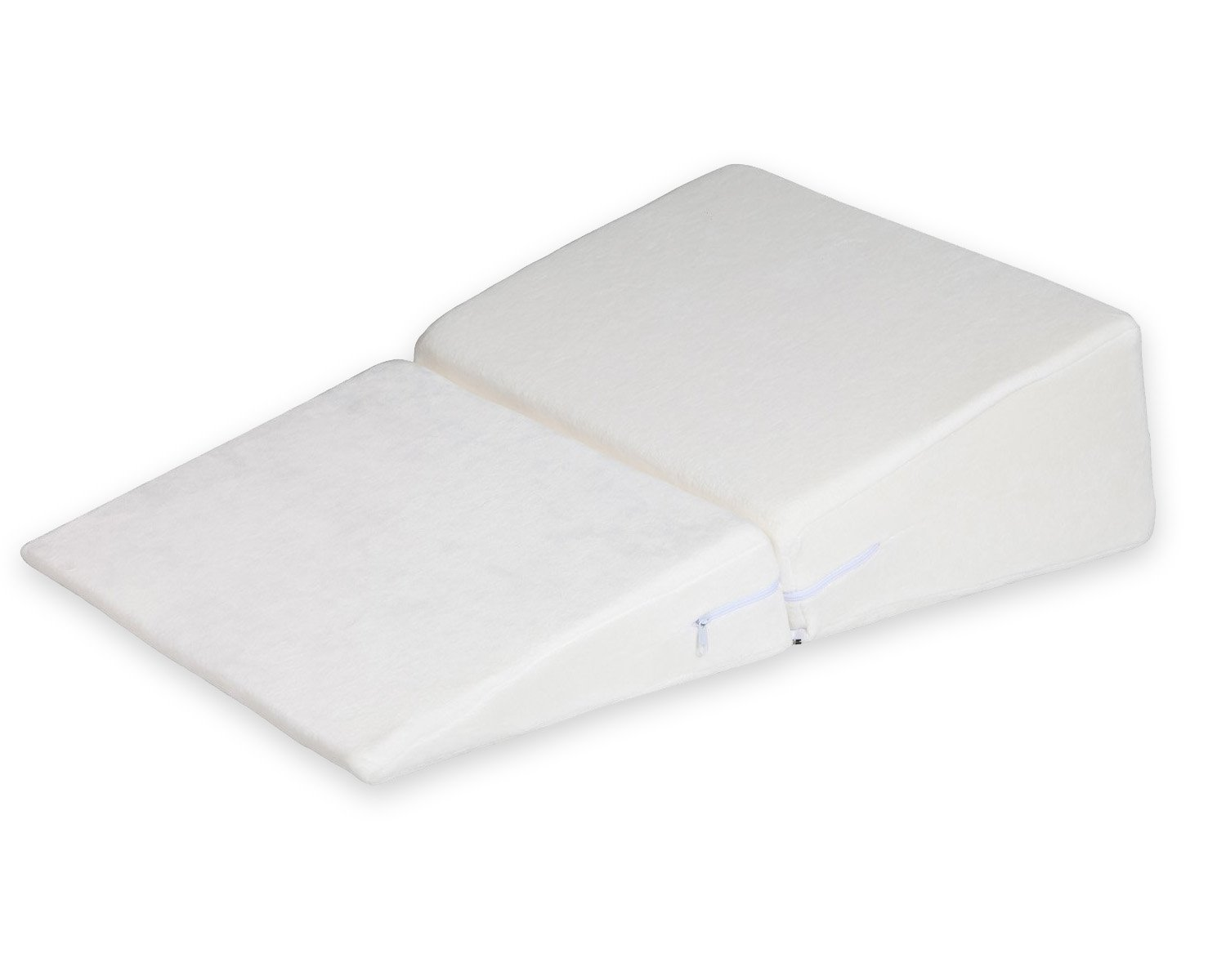 Ang Qi Bed Wedge Pillow with Supportive Foam - Folding - Best for Sleeping, Reading, Rest or Elevation - Breathable and Washable Velvet Cover - White