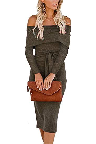 Alaix Womens Sexy Off Shoulder Long Sleeve Bodycon Midi Knit