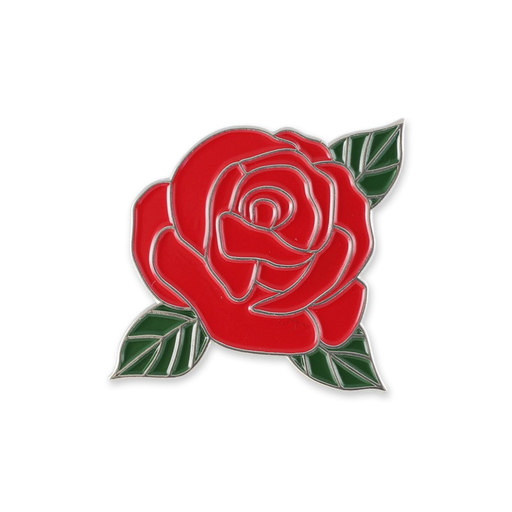 Amazon Red Rose Flower With Green Leaves Enamel Lapel Pin 1