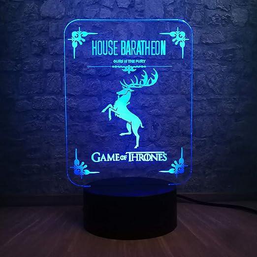 Orangeww 3D Lámpara de mesa de mesa de ilusión óptica/Luz de noche ...
